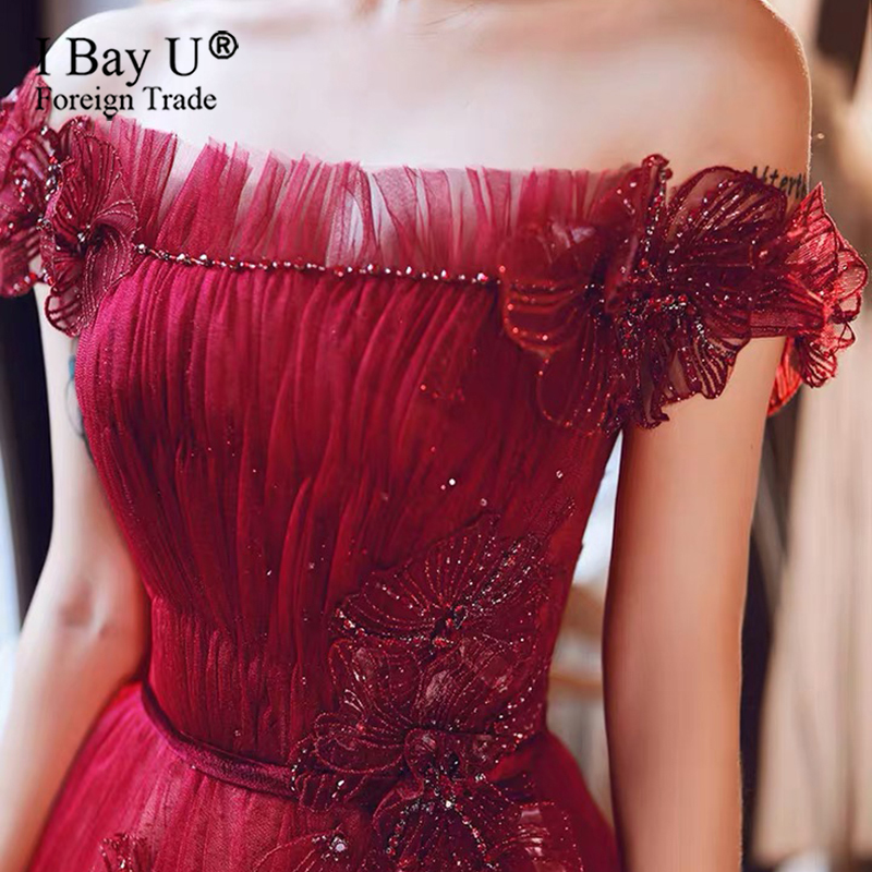 Robe De Soiree Wine Red Banquet Elegant Evening Dress 3D Beading Lace Flower Long Luxury The Bride Party Prom Dresses Custom