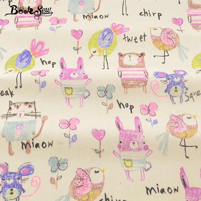 Booksew Belli Animali Del Fumetto Tessili Per La Casa Biancheria di Cotone Tessuto Cucito Tissu Tovaglia Cuscino Tenda Cuscino