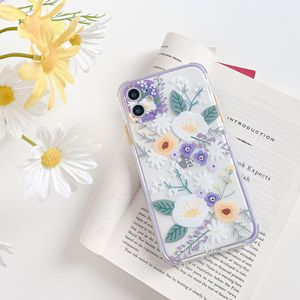 Image 2 - oil painting Transparent peony Flower Phone Case For iPhone 11 12 Pro Max 7 8Plus X XR XS Max TPU Plant Leaves Floral Back Cover
