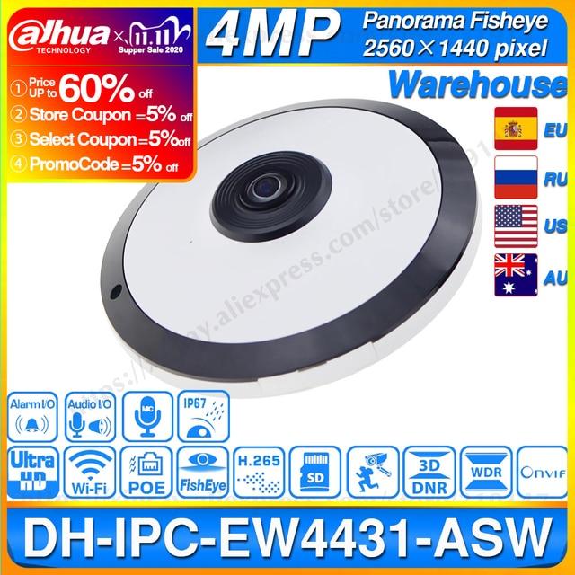 Dahua IPC EW4431 ASW 4MP Panorama POE WIFI 360 Fisheye IP Camera Built in MIC SD Card Slot Audio Alarm Interface