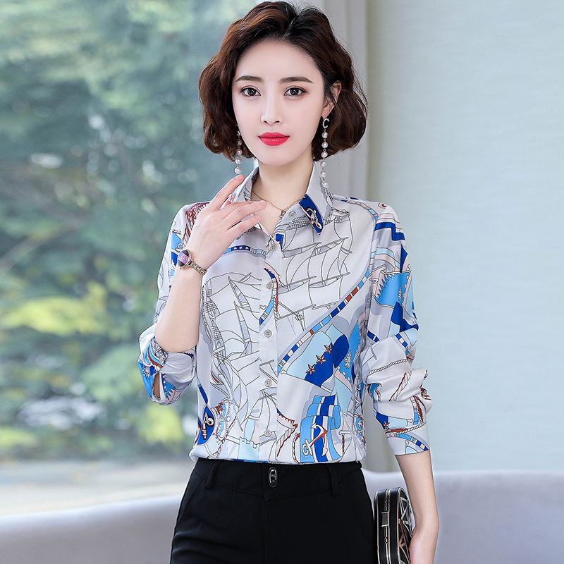 Print Shirt Female Long Sleeve Korean Slim Chiffon Blouse Women Elegant Temperament Floral Ladies Tops Turn-down Collar Tunic OL