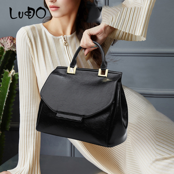 LUCDO Quality Leather Handbags Fashion Vintage Large Capacity Totes Bag Big Shopping Bag Casual Shoulder Crossbody Bag Clutch