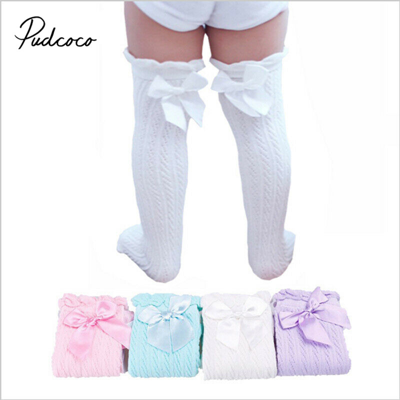 Pudcoco Newborn Infant Baby Girl Knee Stocking Cotton Breathable Summer Solid Bowknot Fish Net Long Stockings 28cm 38cm