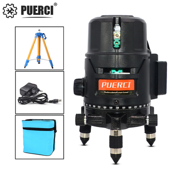 PUERCI L5CG Series 5 Line 6 Points Green Laser Level Self-leveling Horizontal&Vertical 360 Degree Adjustment Higher Visibility