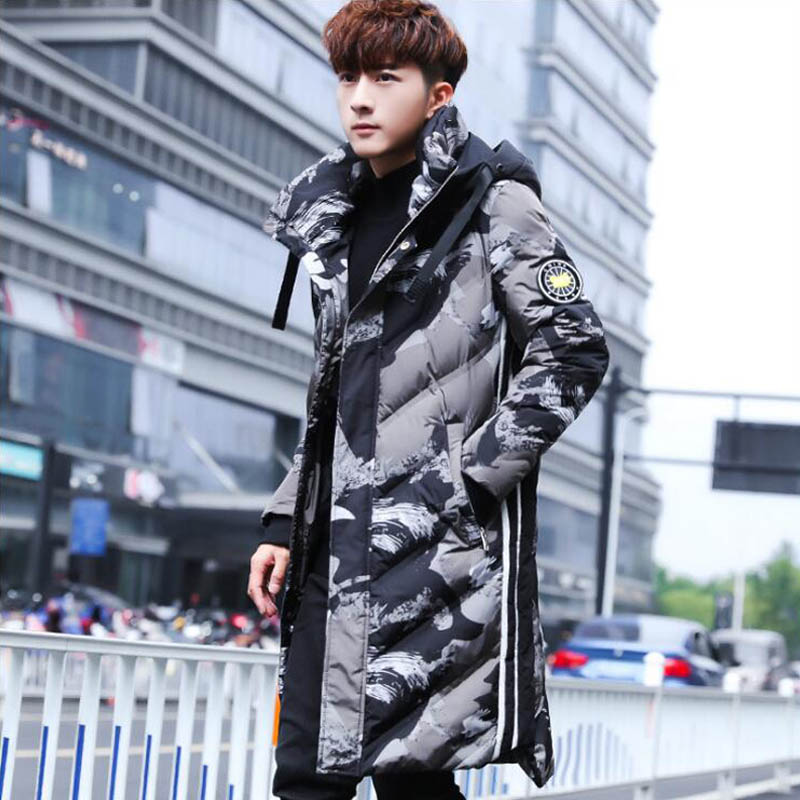 Winter New Long Cap Cotton Jacket 2019 Fashionable Casual Camouflage  Cotton-padded Clothes For Men