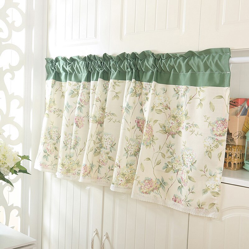 New Window Curtain Pastoral Shade Kitchen Curtains Coffee Shop Half Curtain Door Cortina Short Panel Drapes Valance