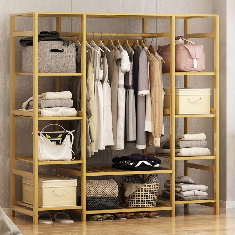 Wardrobe Simple Modern Economical Assembled Wardrobe Solid Wood Bedroom Space Simple Fabric font b Closet b