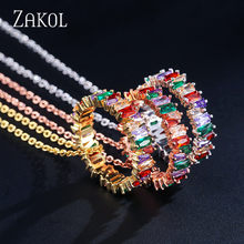 ZAKOL Multicolor Thin Baguette T Handmade Rainbow Trapezoid Zirconia Stone Necklace Pendant For Women Fashion Wedding Jewelry(China)