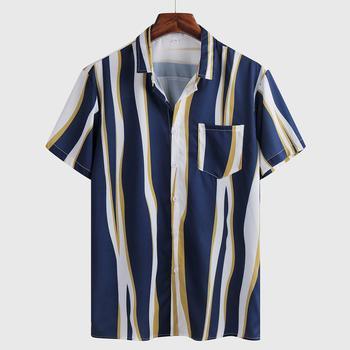 Hawaiian Shirt Mens Summer Ethnic Short Sleeve Shirt Casual Striped Printing Shirt Tops streetwear Blouse camisa masculina 1