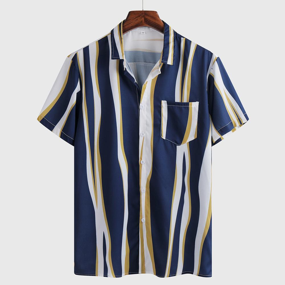 Hawaiian <font><b>Shirt</b></font> <font><b>Mens</b></font> Summer Ethnic <font><b>Short</b></font> <font><b>Sleeve</b></font> <font><b>Shirt</b></font> Casual <font><b>Striped</b></font> Printing <font><b>Shirt</b></font> Tops streetwear Blouse camisa masculina image