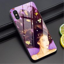 Shockproof IU Lee Ji-eun Kpop Tempered Glass Phone Cover for iPhone Xs Max Case X 6 6S XR 8 Plus 7 5S 5 SE Shell(China)