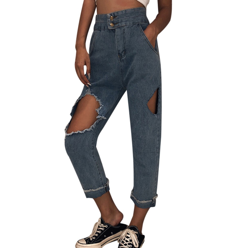 SAGACE Oversized Boyfriend sexy Ripped hole Jeans Women Pants Cool Denim Vintage loose push up jeans High Waist Casual ladies