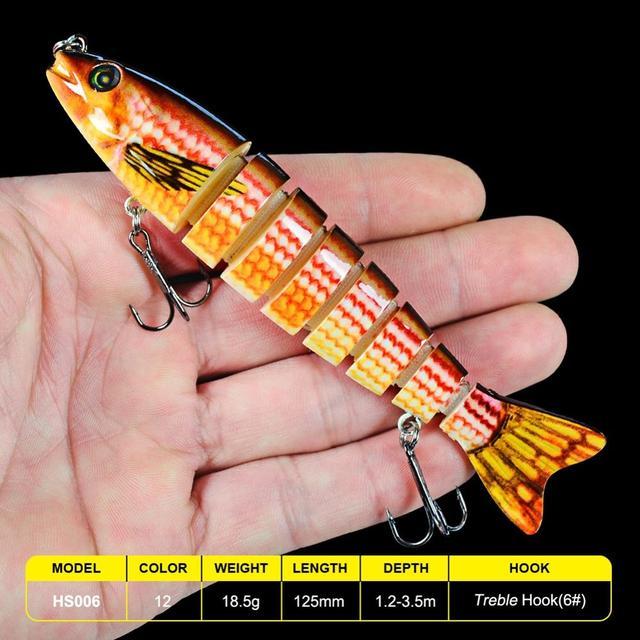 New 2021 12.5cm 18.5g Premium 7 Sections Multicolor Sinking Wobbler Lure 1