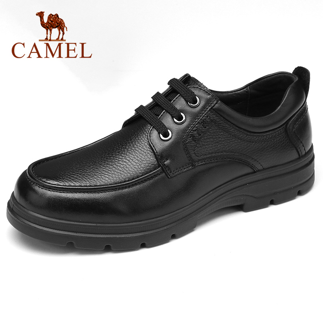CAMEL Mens Shoes New Business Dress Shoes Men Genuine Leather Comfortable Cushioning Casual Dad Footwear Soft Elastic Non slip