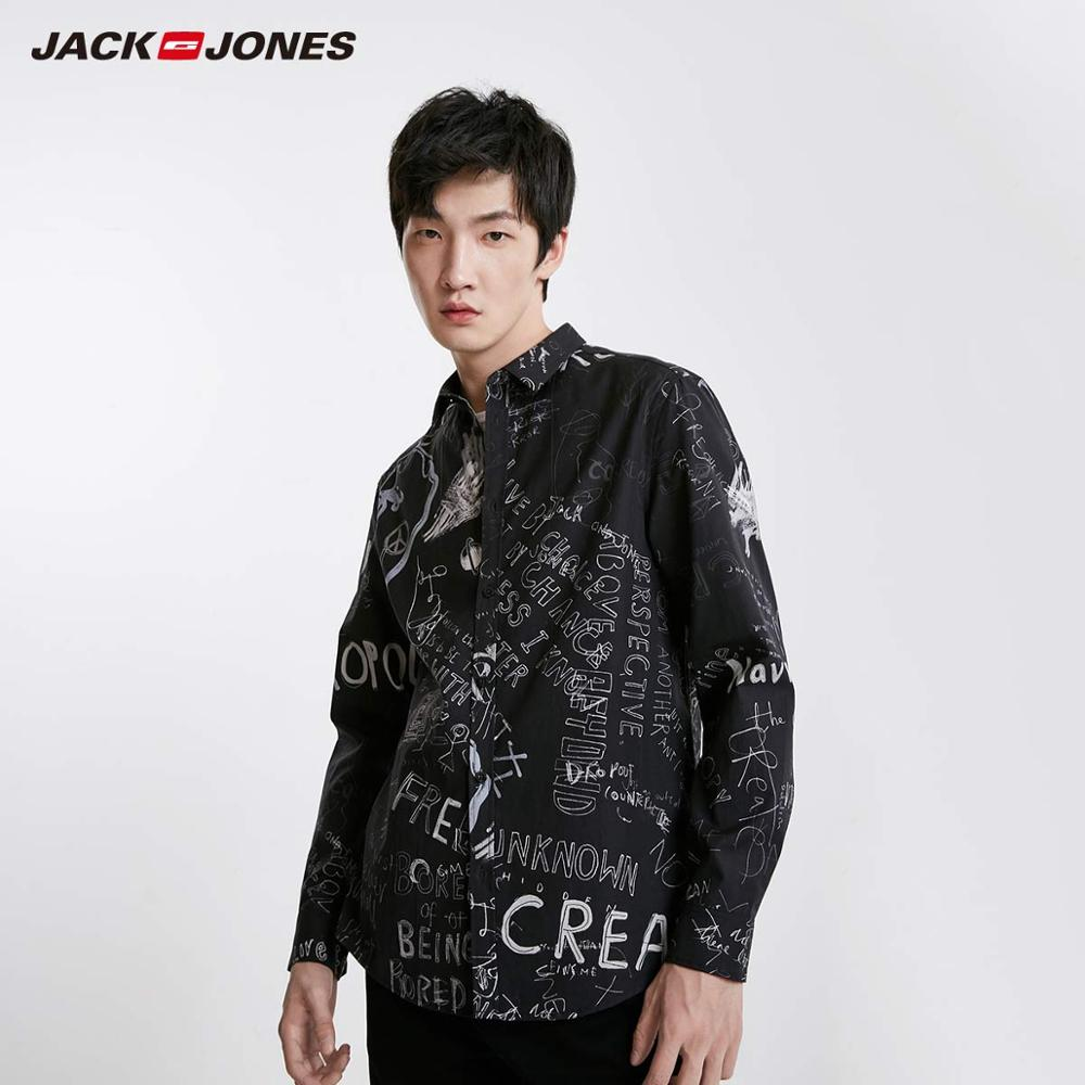 JackJones Men's Graffiti Print Turn-down Collar Long-sleeved Shirt Style  219105519