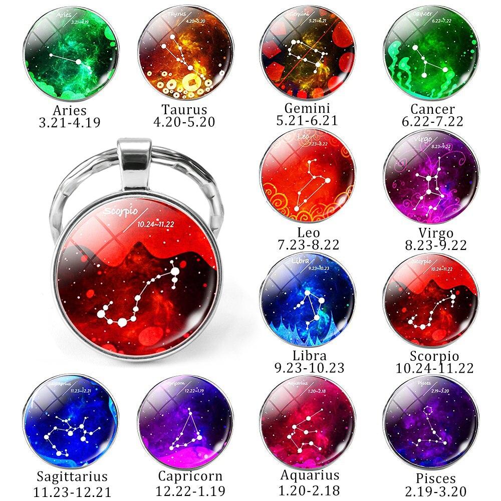 12 Constellation Zodiac Sign Keychain Key Chain Ring Gemini Cancer Virgo Libra Scorpio Pendant Glass Dome Jewelry Birthday Gift