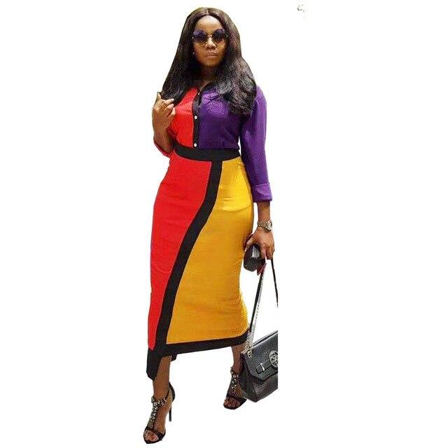Colors Patchwork Maxi Dresses Women Turn Down Collar Full Sleeve Blouse Dress Fashion Autumn Irregular Elegant Office Lady Dress 3