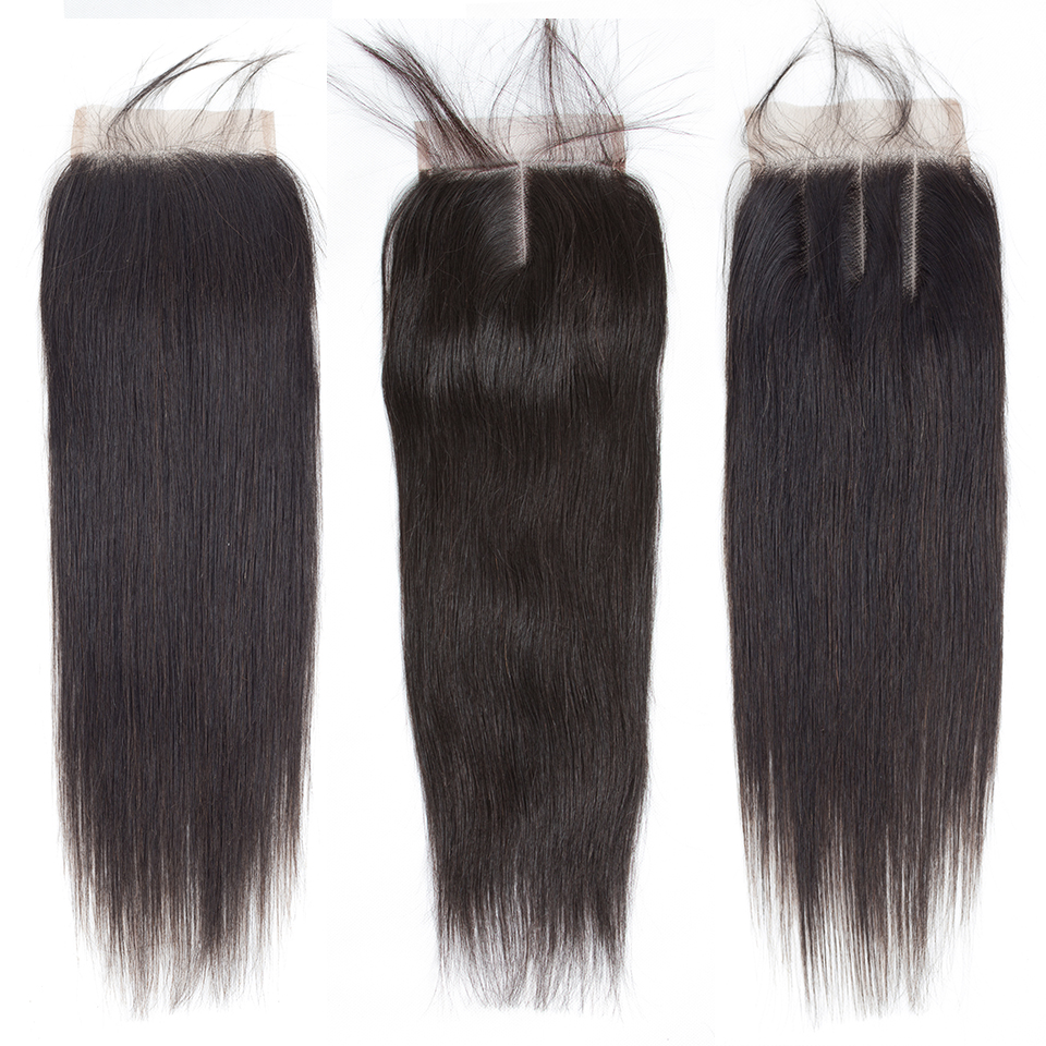 H5b4de622ffdf4dcc81ab256950dd4253V Queenlike 100% Human Hair Weave Bundles With Closure Non Remy Hair Weft 3 4 Bundles Brazilian Straight Hair Bundles With Closure