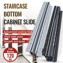 WASHINGST Furniture Fittings 3 Fold Full Extension Heavy Duty Slide Ball Bearing Sliding Door Kit Guide Rail Load Rating 120KG