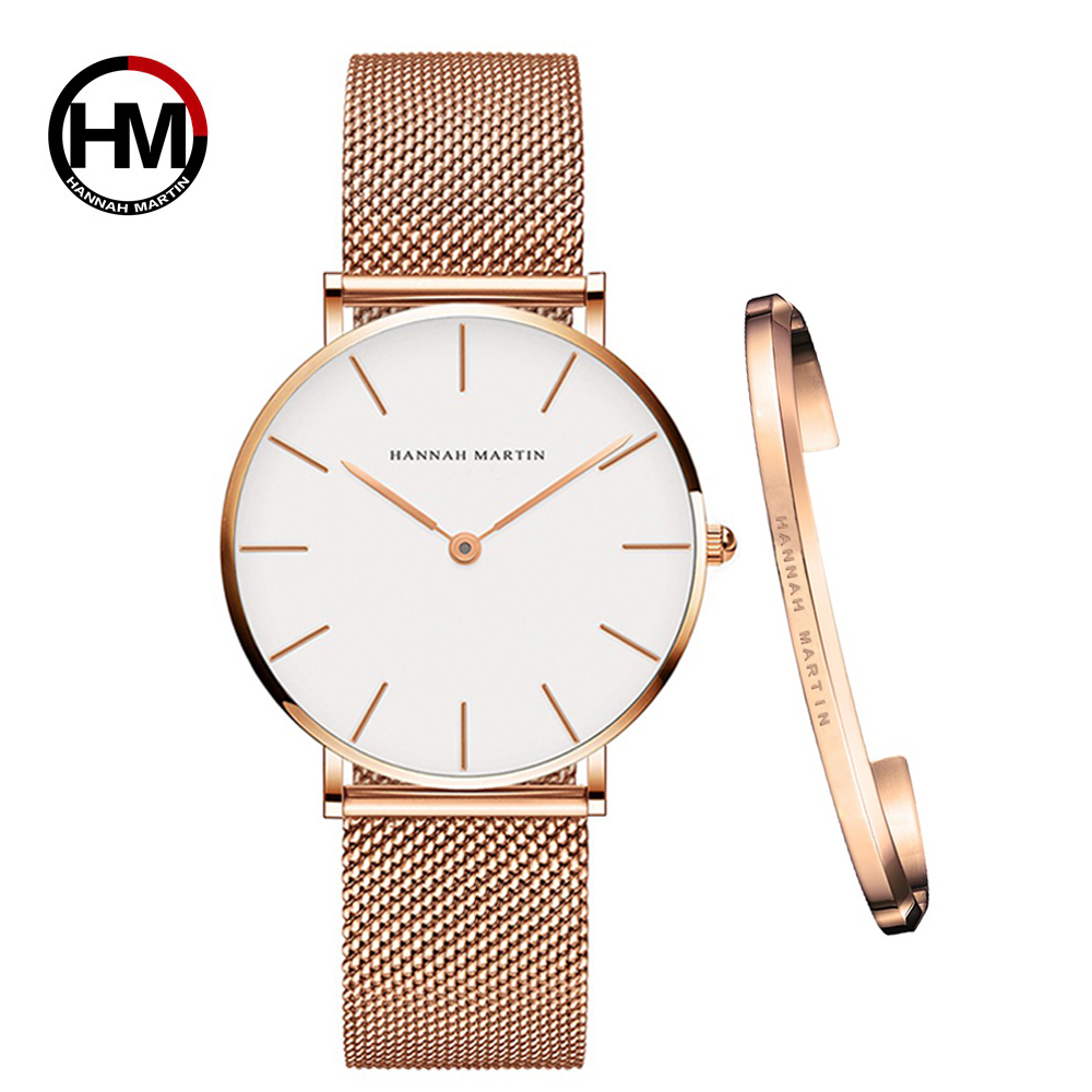 Ins Hot 1 Set Brand Wristwatches & Bracelet Japan Quartz Movt Ladies Waterproof Rose Gold Simple Stainless Steel Women Watches