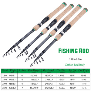 Image 5 - Sougayilang New Telescopic Lure Rod 1.8M 2.1M 2.4M 2.7M Carbon Fiber Cork Wood Handle Spinning Rod Fishing Pole Tackle
