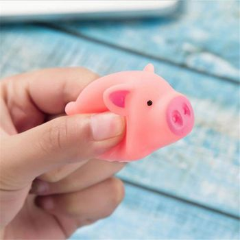Kawaii Pink Pig Animal Squeeze Toy Baby Bath Toy Bedroom Doorbell Practical Jokes Kids Gift Y4QA