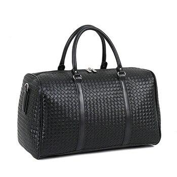Fashion PU Leather Woven Pattern Travel Bag Large Capacity Men Women Shoulder Bags Business Travel Bag Luggage Duffle Bag LGX86 Bags & Shoes