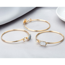 New Arrival Classic Bracelet Bangle Gold Silver Color Metal Jewelry for Women Resin Crystal Quartz Druzy