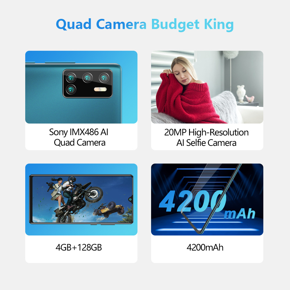 Cubot P40 Rear Quad Camera 20MP Selfie Smartphone NFC 4GB+128GB 6.2 Inch 4200mAh Android 10 Dual SIM Card mobile phone 4G LTE 1