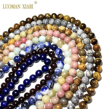 Venta al por mayor AAA cuentas de piedra Natural mixto joya ágatas lapislázuli cuarzo rosa de 18 quilates para fabricación de joyería DIY collar pulsera 4-12MM