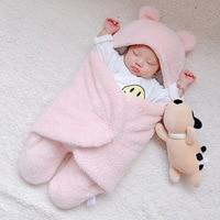 Winter baby blanket Swaddle soft newborn 3-Layer Fluff  Sleepping bag Panda Ear infant Warm Wrap For Boys Girls Kid Blanket 0-6M