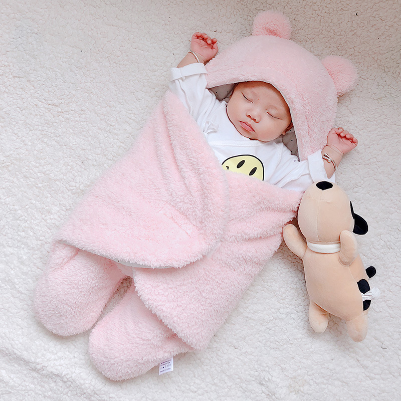 Winter Baby Blanket Swaddle Soft Newborn 3-Layer Fluff  Sleepping Bag Panda Ear Infant Warm Wrap For Boys Girls Kid Blanket 0-6M