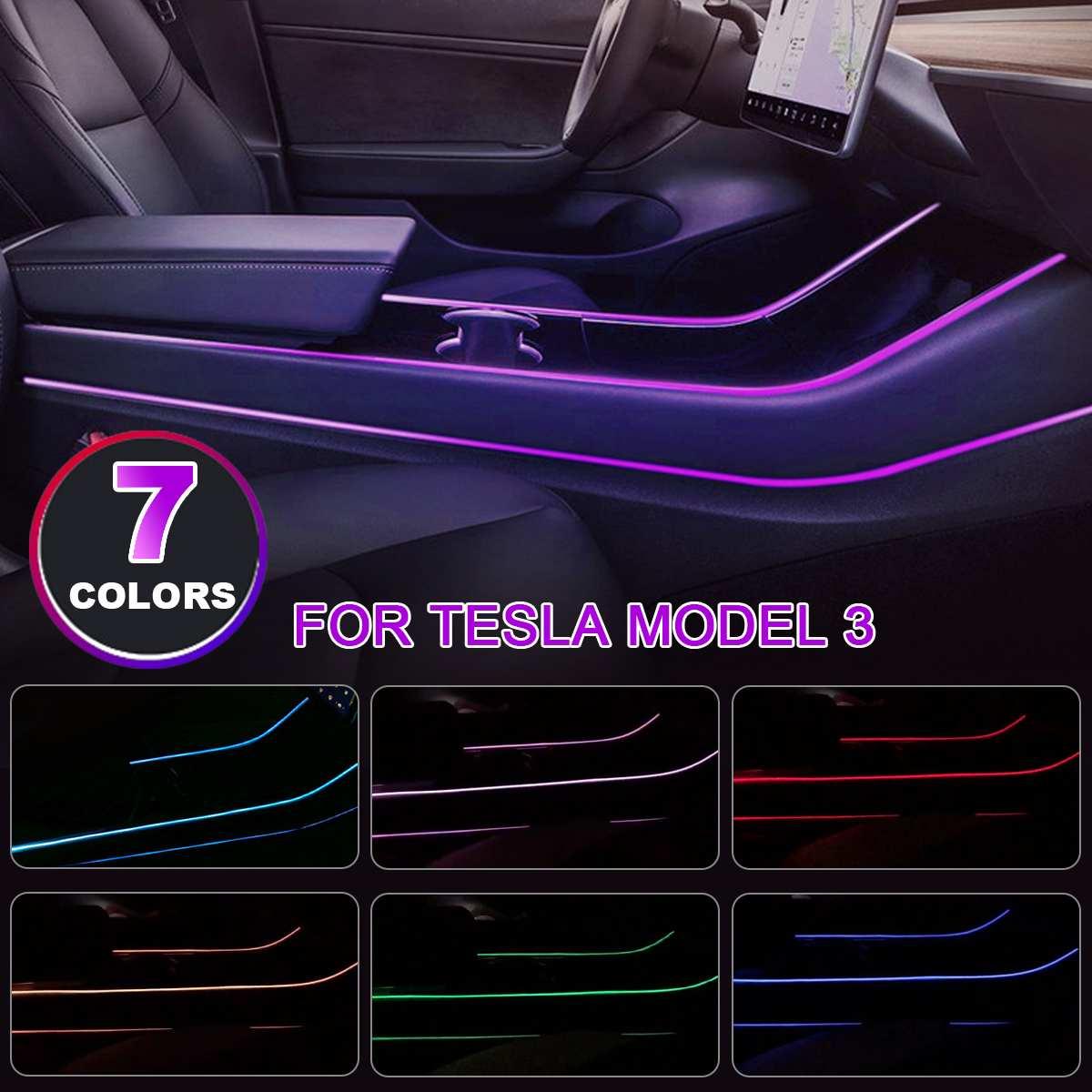 Modification de l'atmosphère intérieure de la voiture Modification de sept LED couleur dans les accessoires de contrôle pour Tesla model 3