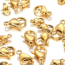 30pcs/lot Stainless Steel Lobster Clasps Gold Plated Lobster Clasps Hooks Connectors For DIY Jewelry Making Findings Accessories