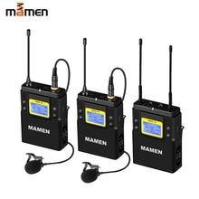 MAMEN UHF 듀얼 채널 디지털 무선 마이크 시스템 2 btransmitter 1 수신기 카메라 폰 비디오 사운드 녹음