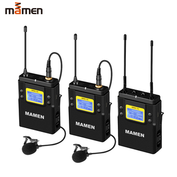 MAMEN UHF Dual-Channel Digital Wireless Microphone System 2bTransmitters 1 Receiver for Camera Phone Video Sound Recording