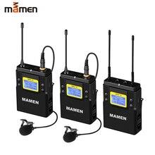 Двухканальная Цифровая беспроводная микрофонная система MAMEN UHF, 2 передатчика, 1 приемник для камеры, телефона, видеозаписи звука