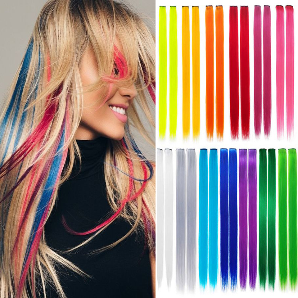 Lupu Pure Color / Color Long Straight Hair Extensions Hair Extensions, Female Natural Synthetic Wig Length 55cm