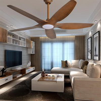 64 Inch luxury Nordic Ceiling Fans American retro remote ceiling fan creative 5 Blades wooden wood dropshipping