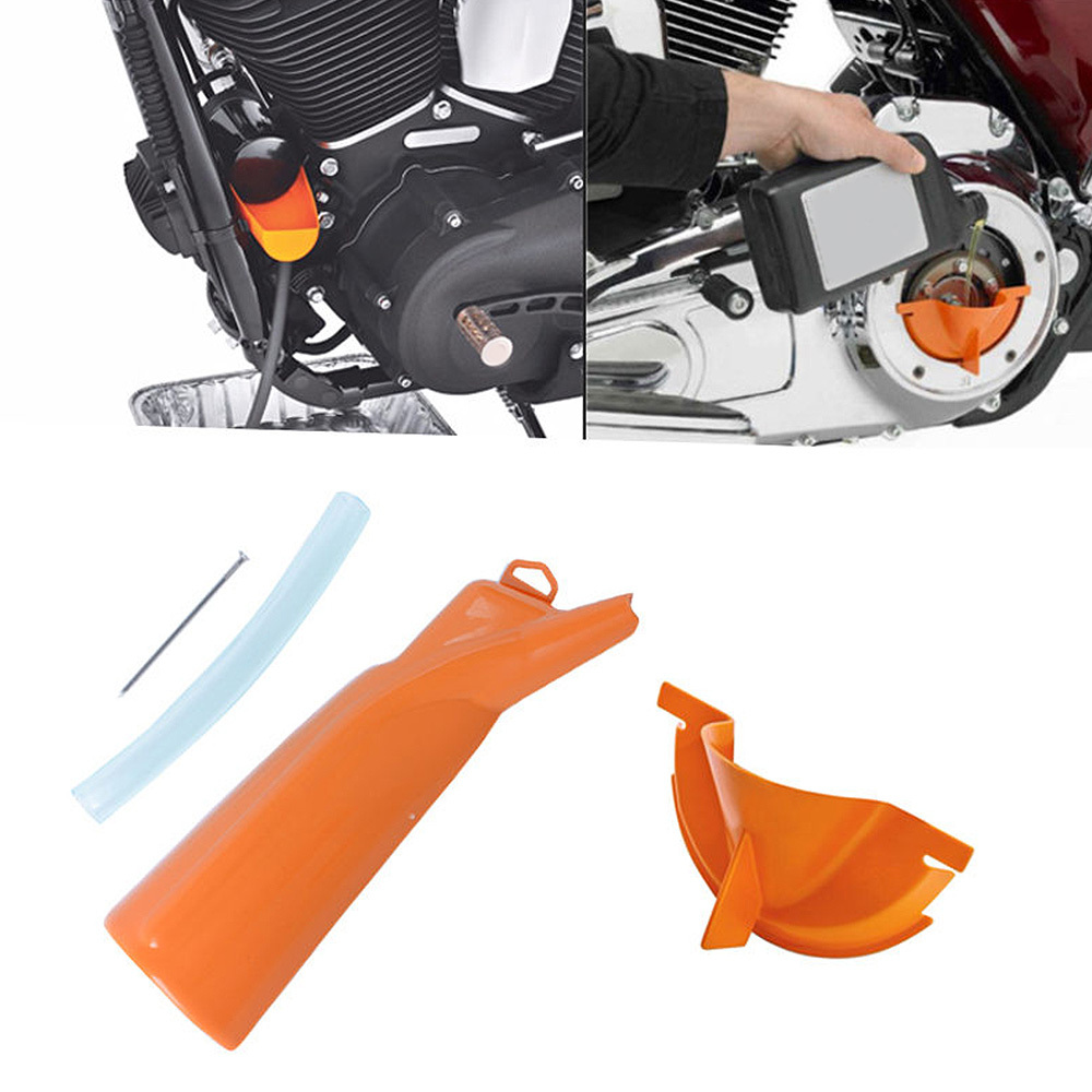 Motorcycle Orange Drip Free Oil Filter Funnel Primary Case Oil Fill Funnel For Sportster Softail Dyna Touring Models Moto in Covers Ornamental Mouldings from Automobiles Motorcycles