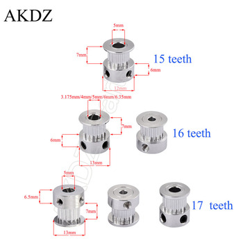 2GT 15 16 17 teeth 2GT Timing Pulley Bore 4/5/6mm for GT2 Open Synchronous belt width 6mm small backlash 15 16 17Teeth 16T 1pcs image