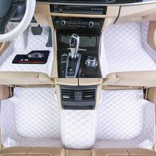 Alfombrillas personalizadas para coche, de cuero impermeable, respetuoso con el medio ambiente, para modelo de coche y hacer 3 piezas, juego completo blanco
