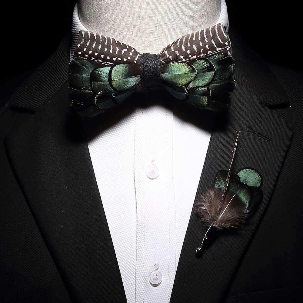 Ricnais Nuovo Originale Piuma Bow Tie Spilla Set Bianco Bule Colorata A Mano Squisito Bowtie Per Gli Uomini Cravatte di Nozze Regalo con box