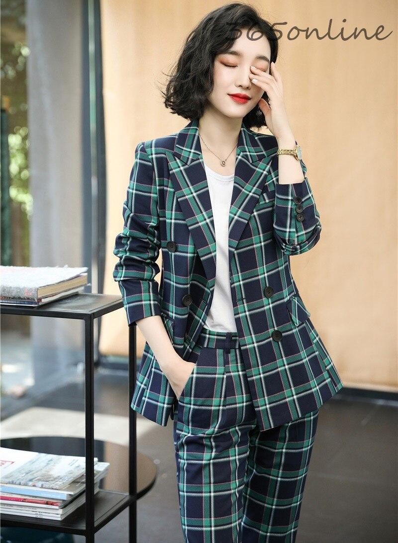 Autumn Winter Formal Women Business Suits With 2 Piece Set Pants And Jackets Coat Professional Blazers Pantsuits Elegant Plaid
