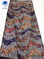 BEAUTIFICAL african lace fabrics New design embroidery sequins lace fabric for dress nigerin net lace fabric ML44N318