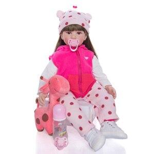 Boneca Reborn Baby 60CM Soft Silicone Vinyl Doll Long Hair Girl Reborn Baby Dolls Newborn Bebes Lifelike Reborn Doll Toys Gift(China)