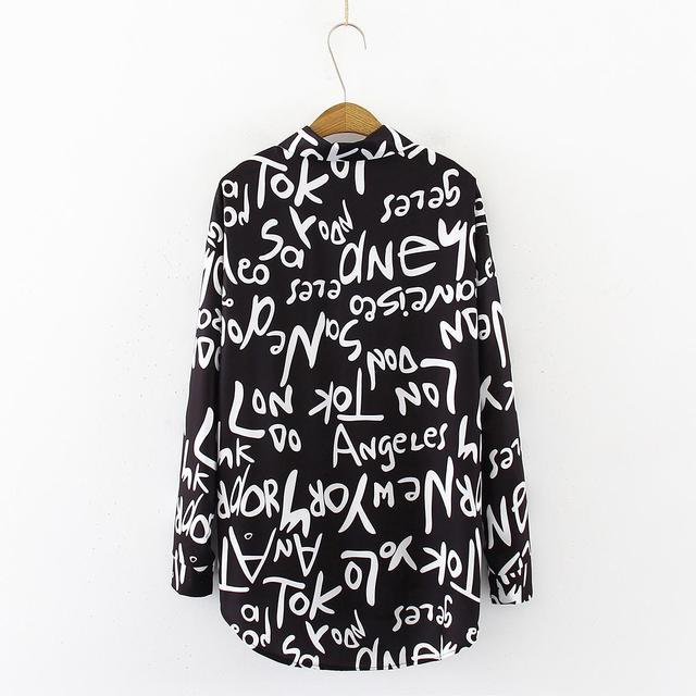 Graffiti letter printing Blouse Shirt  1