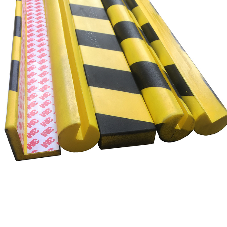 Crash Bar PU Foaming Crash Bar Black And Yellow Parking Lot Warning Tape Gum Self-Adhesive U-shaped Bumper Strip