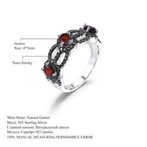Image 5 - GEMS BALLET 1.35Ct Natural Red Garnet Antique Style Three Stone Ring 925 Sterling Silver Gemstone Rings For Women Fine Jewelry