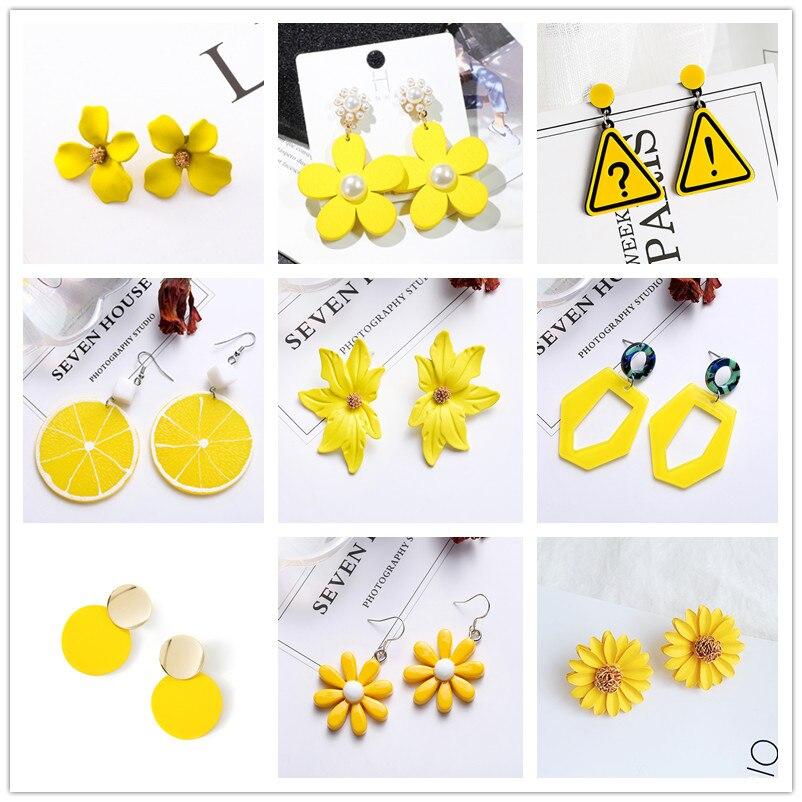 Yellow Color Drop Earrings For Women 2020 Summer Korean Design Geometric Flower Heart Earrings Creative Sweet Wedding Jewelry